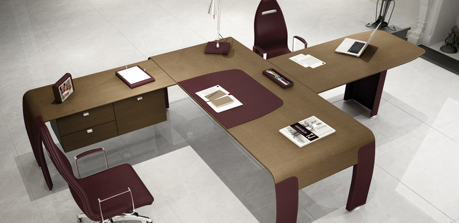 Codutti Italy Leather Executive Office Desks Alfaomega