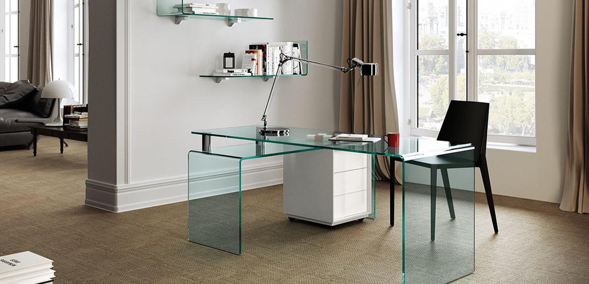 Eckschreibtisch glas  Rialto curved transparent glass desk