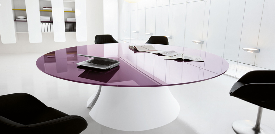 Ola glass or lacquered conference table by Martex Italia